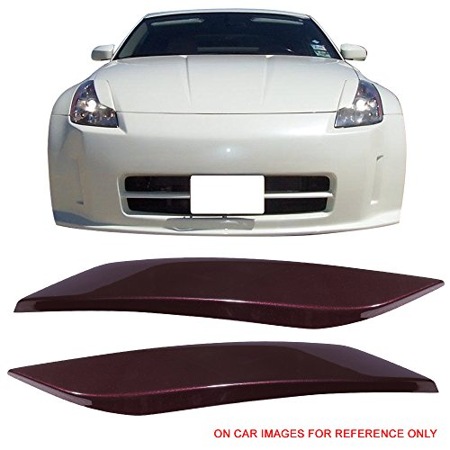 Pre-Painted Eyelid Fits 2003-2008 Nissan 350Z | Painted #L40 New Maroon Metallic ABS Headlight Eyelids Eyebrows Cover Other Color Available By IKON MOTORSPORTS | 2004 2005 2006 2007
