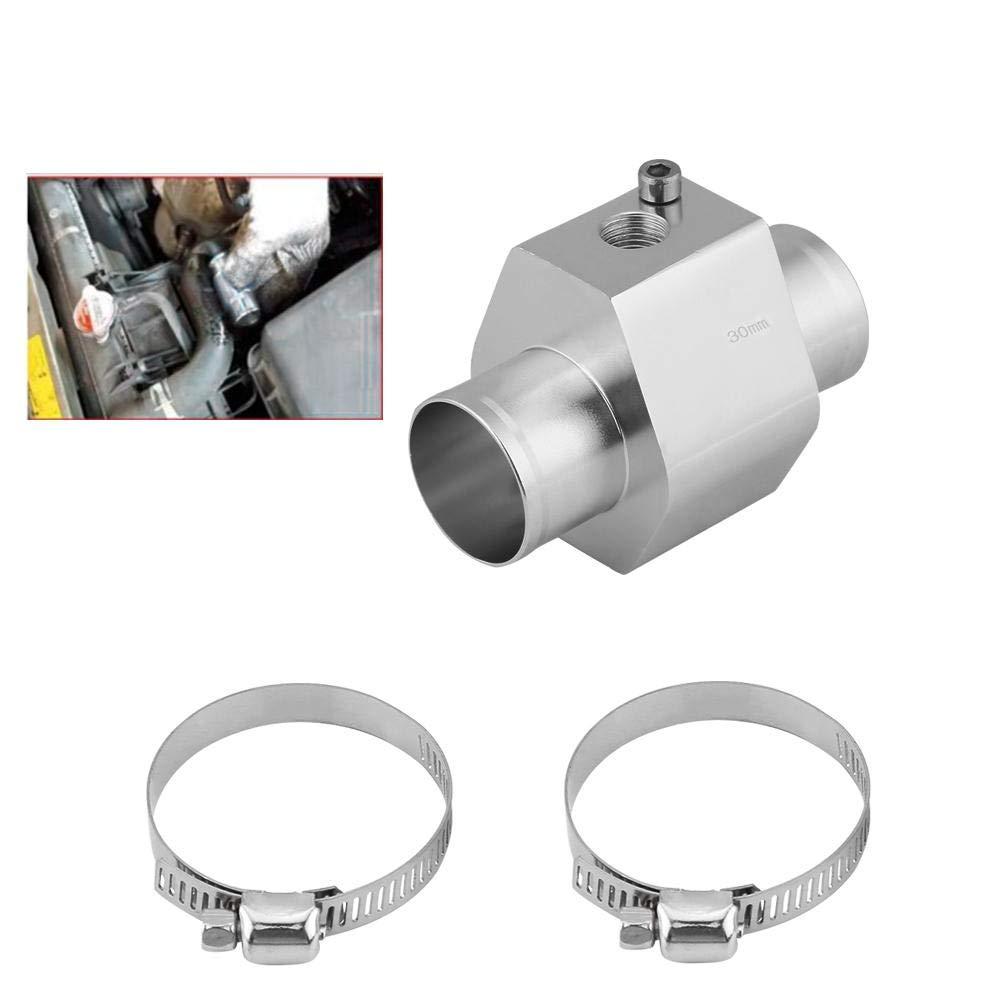 Water Temperature Temp Sensor Adapter 34mm Keenso Silver Water Temp Sensor Gauge Radiator Hose Adapter Aluminum Water Temp Joint Pipe Radiator Sensor w//Clamps