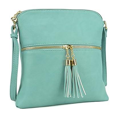 Lightweight Women Crossbody Bags with Tassel, Travel Shoulder Messenger Purse Medium Multi Zipper Designer Satchel