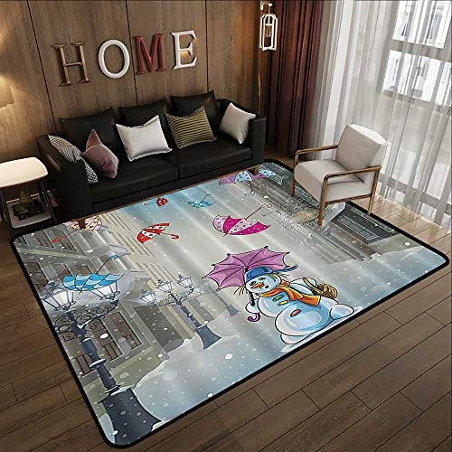 Contemporary Synthetic Rug,Christmas Cartoon Decor,Street with Colorful Umbrellas and Snowman Wearing Scarf Hat on a Snowing Winter Day,Blue White 71