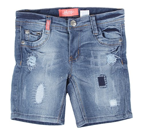 8H057(B) - Girls' Stretch 5 Pockets Ripped Premium Bermuda Denim Jeans Shorts in Washed Blue Size 8 ()