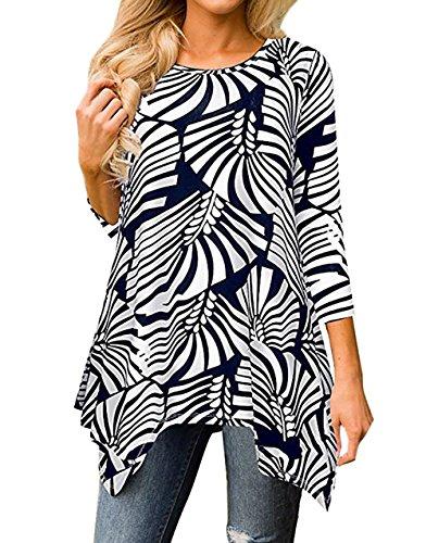 Blouses Automne Shirts T Irregulier Casual Noir Tee Imprime et Tops Tunique Chemisiers Femmes Hauts Rond Manches Long Col Shirt 3 4 Fashion Printemps 1P5Tq7