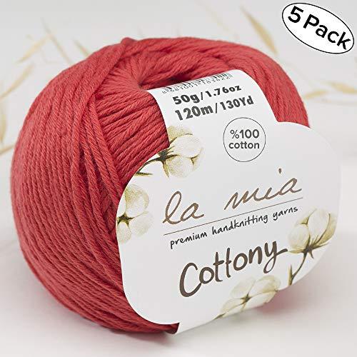 5 Ball%100 Cotton Total 8.8 Oz. La Mia Cottony Each 1.76 Oz (50g) / 130 Yrds (120m) Super Soft, Dk Light Baby Yarn, Red - ()