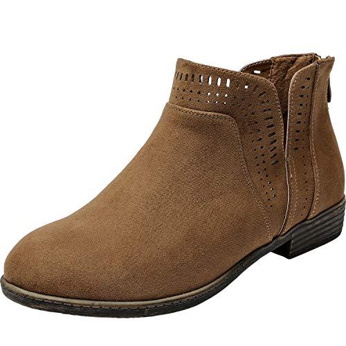 (Aukusor Women's Wide Width Ankle Booties - Low Heel Slip On Cozy Work Spring Boots.(180903 Brown 11xw))