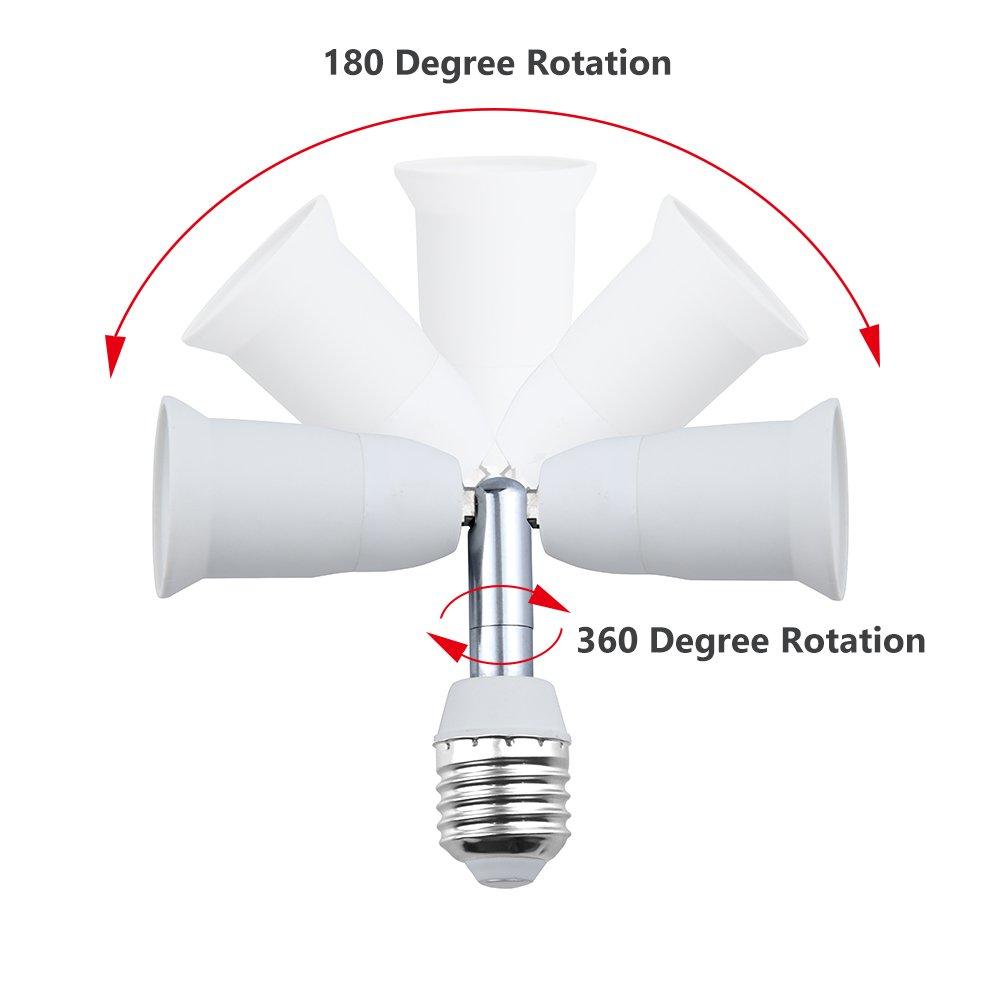 Bonlux E26/E27 Light Socket Extender Adapter, E26/E27 to E26/E27 Adjustable Extension, Flexible Medium Screw Base Light Bulb Socket Converter, Adjustable Vertical 90° Horizontal 360° (5-Pack) by Bonlux (Image #3)
