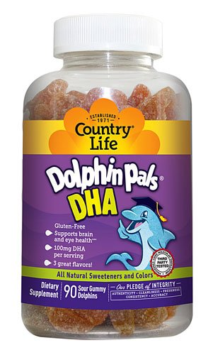 Country Life Dolphin Pals DHA Gummies for Kids -- 100 mg - 90 Gummies - 3PC