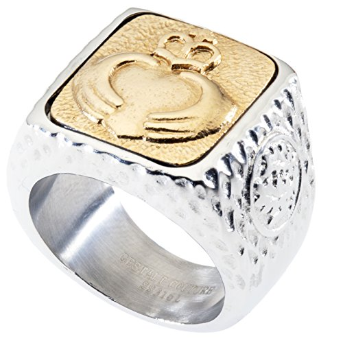 Unique Claddagh Signet Ring. Platinum Style Surgical Stainless Steel with 18kt Gold Plating. RSS24CLAD95