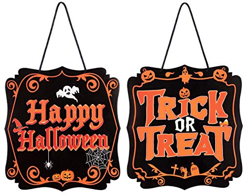 jollylife Halloween Hanging Sign Decorations - Trick or Treat Outdoor Yard Haunted House Party Supplies Decor -