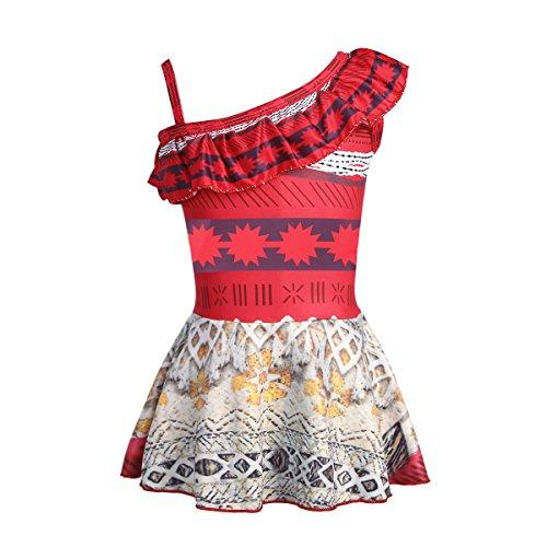 Freebily Déguisement Vaïana Enfant Fille Moana Maillot de Bain Une Epaule Robe Bodysuit de Bain Plage Natation Moana Robe de Danse Sport 3-10 Ans