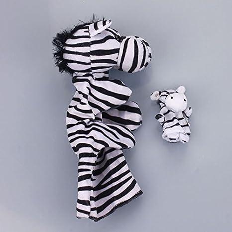 ❤️Vovotrade/®Hot Funny Marionnette Parentale Z/èbre 2pcs Parent-Enfant coupl/é /à la Main Doux Animal Doigt b/éb/é Infantile Enfant en Peluche Jouets Cute Toy Cadeau Marionnette Z/èbre Jouets