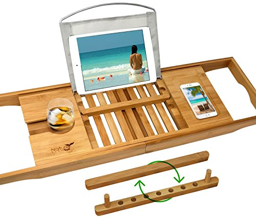 UPGRADED 2018 Bamboo Premium Luxury Bath Caddy - Holds Any Book, Magazine, Tablet or Smartphone - Bathtub Tray with Extending Arms