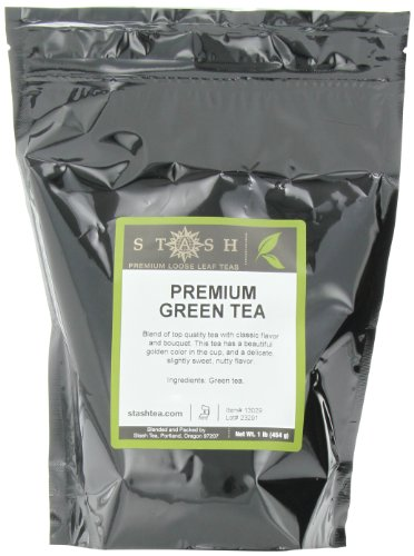 Stash Tea Premium Green Loose Leaf Tea 1 Pound Loose Leaf Premium Green Tea for Use with Tea Infusers Tea Strainers or Teapots, Drink Hot or Iced, Sweetened or Plain
