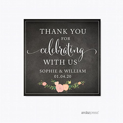 Andaz Press Chalkboard Floral Party Wedding Collection, Square Label Stickers, Personalized Thank You for Celebrating with US, 40-Pack, Custom Name