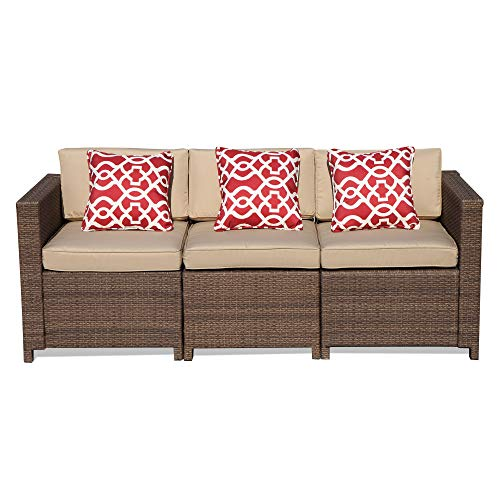 Outdoor Patio Furniture Set, 3-Piece Brown Patio Conversation Set with 3 Single Chair, Steel Frame