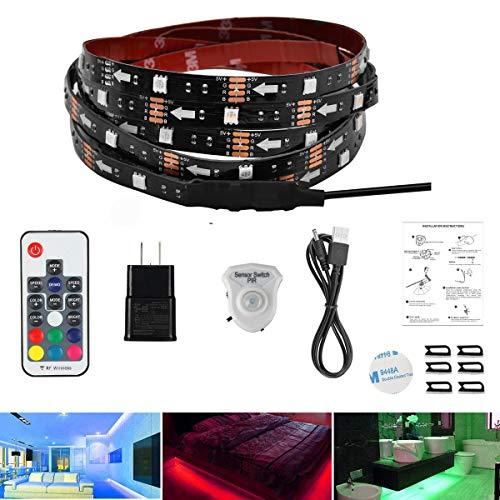 AveyLum LED Streifen Bewegungs Aktiviertes Bettlicht 1,5 Meter RGB LED Seillicht Bewegungssensor Nachtlicht Nachttischlampe mit automatischer Abschaltzeit und RF Regler für Bett, Treppe, Schrank …