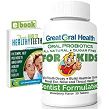 Chewable Children's Oral Probiotics ~ Dentist Formulated 30 Tablet Bottle ~ Seven Strains With Blis K12 & M18 ~ Probiotics For Kids ~ 83 Page eBook Included