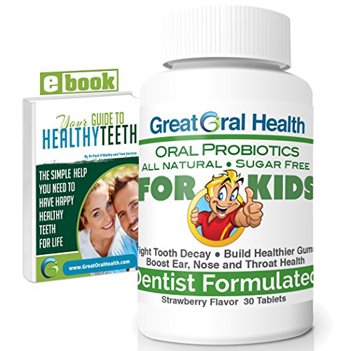 Chewable Children's Oral Probiotics ~ Dentist Formulated 30 Tablet Bottle ~ Seven Strains with Blis K12 & M18 ~ Probiotics for Kids ~ 83 Page eBook Included from Great Oral Health