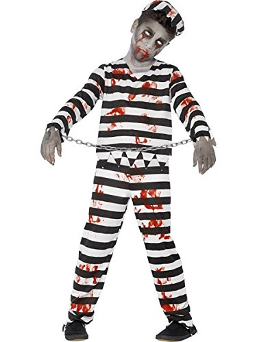 Smiffys Children's Zombie Convict Costume, Trousers, Top, Hat & Wrist -