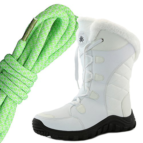 DailyShoes Womens Comfort Round Toe Mid Calf Hiking Outdoor Ankle High Eskimo Winter Fur Snow Boots, Lime White Ivory White