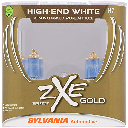 SYLVANIA - H7 (64210) SilverStar zXe GOLD High Performance Halogen Headlight Bulb - Headlight & Fog Light, Bright White Light Output, Best HID Alternative, Xenon Charged Technology (Contains 2 -