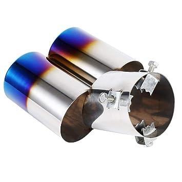 terminale di scarico doppio ugello posteriore in acciaio inossidabile universale Qiilu Tubo di coda marmitta scarico auto 1 pz