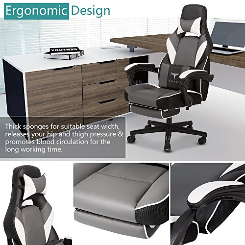 TOPSKY High Back Racing Style PU Leather Executive Computer Gaming Office Chair Ergonomic Reclining Design with Lumbar Cushion Footrest and Headrest (New Black&Blue)