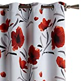 """Bouclair Charlotte Red & White Floral Panel Curtain 