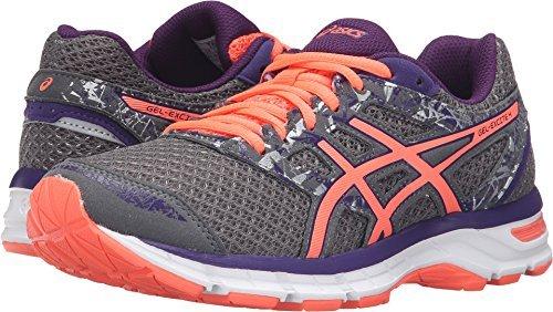 ASICS Women's Gel-Excite 4 Running Shoe, Shark/Flash Coral/Parachute Purple, 8 W US
