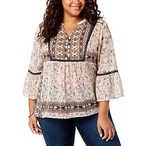 Style & Co. Womens Plus Crochet Hi-Low Peasant Top Beige 2X from Style & Co.