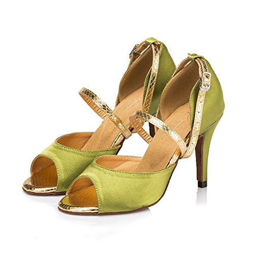 Meijili Womens Satin Salsa Tango Ballrom Latin Dance Wedding Evening Pumps Green 5Ao57Z