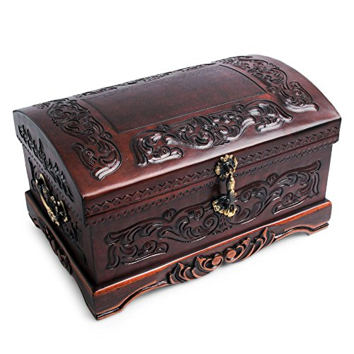 NOVICA Colonial Theme Mohena Wood and Tooled Leather Jewelry Box, Colonial Legacy'