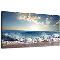 arteWOODS Wall Art Beach Wave Sunset Nature Pictures Blue Ocean Artwork Canvas Prints