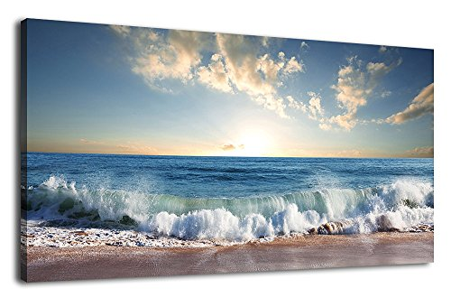 arteWOODS Canvas Wall Art Beach Wave Sunset Nature Pictures Blue Ocean Artwork Canvas Prints Summer Season Contemporary Painting Framed Ready to Hang for Home Decoration 24