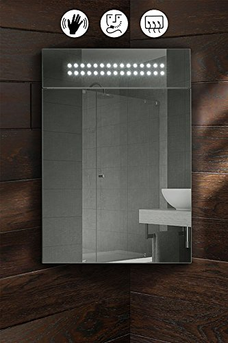My Furniture Panoramic Led Illuminated Bathroom Corner Mirror