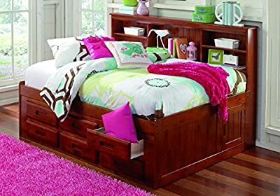 Full Daybeds with Bookcase Headboard, Six Storage Drawers & Free Storage Pockets