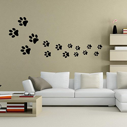 bibitime black dog paw prints wall decal nursery bedroom kids room