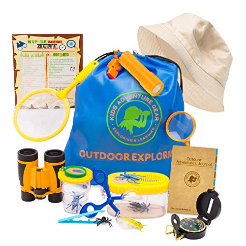 Outdoor Adventure Kit for Kids-20 pc Bug Catching & Explorer Kit-Binoculars-Compass-Magnifying Glass- Bug Catcher Set+Containers-Butterfly Net & Backpack-STEM Gift Set-Camping, Hiking, Boys & Girls ()