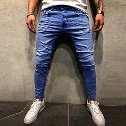 De Pantalones De Elásticos Hombres Delgados Impresos Vaqueros Desgastados Los De Los Los Pantalones Hombres Joven De Mezclilla Pantalones Deshilachados Blau Adelgazar qtwvxEnO