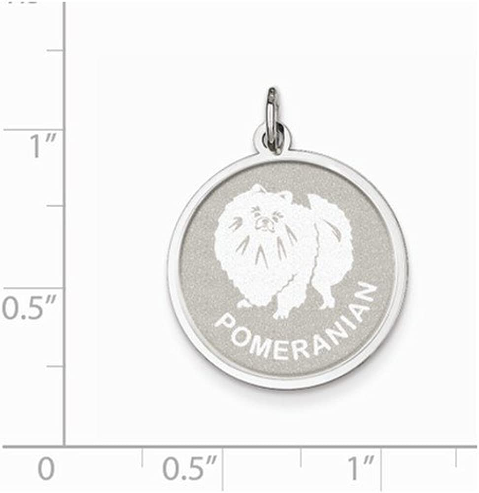 16-20 Mireval Sterling Silver Pomeranian Disc Charm on a Sterling Silver Chain Necklace