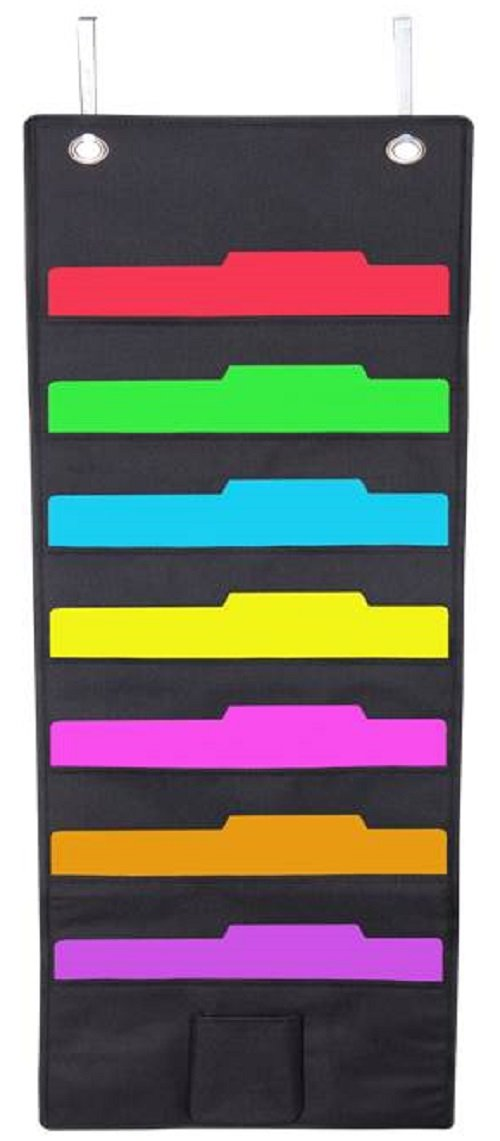 Wall Hanging 7 Slot Fabric File Organizer with Pocket and Hanger, Black