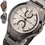 Sinobi Mens Table 3 Small Dials Tungsten steel Band Waterproof Sport Wrist Watch, White Dial, Watch Central