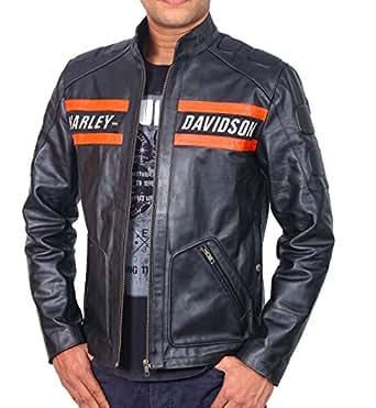 Halloween Sale: Goldberg WWE Harley Motorcycle Screaming Eagle Black Biker Leather Jacket (Small)