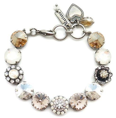 Mariana Swarovski Crystal Silver Plated Bracelet Silk Moonlight Rivoli Flower Mosaic 1078 Kalahari by Mariana