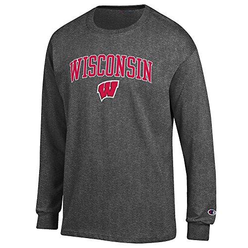 Wisconsin Gray Shirt - Elite Fan Wisconsin Badgers Men's Long Sleeve Arch Tee Shirt, Dark Heather, Large