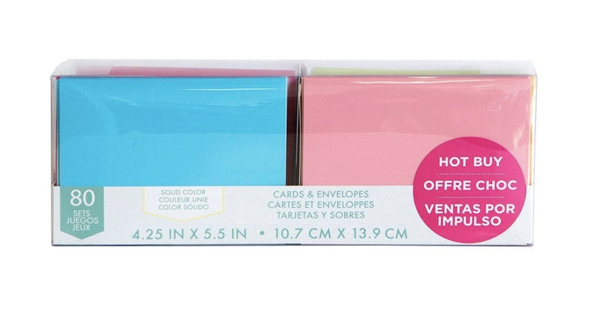 Craft Smith Blank Cards and Envelopes 80 Sets Assorted Solid Colors 4.25x5.5