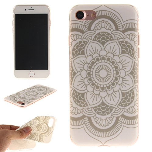 Custodia iPhone 7 / iPhone 8 , LH Fiori Bianchi TPU Silicone Cristallo Morbido Case Cover Custodie per Apple iPhone 7 / iPhone 8 4.7