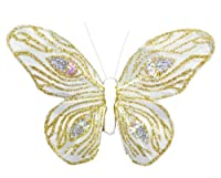 Touch of Nature Fancy Butterfly Peacock Design Assortment Decorative Item, 4.25 by 3.5-Inch, White on Clip