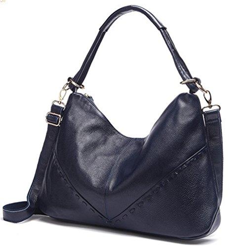 La mujer Xinmaoyuan Bolsos Bolso Big Bag Bolso De cuero auténtico Bolso Messenger,negro Blue