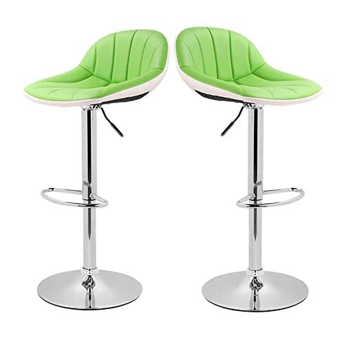 XINGHAO Adjustable Swivel Barstools with Back for Home Bar Kitchen Counter, New Modern Green and White PU Leather Hydraulic Bar Chair-Set of 2, Hold Up to 350lb