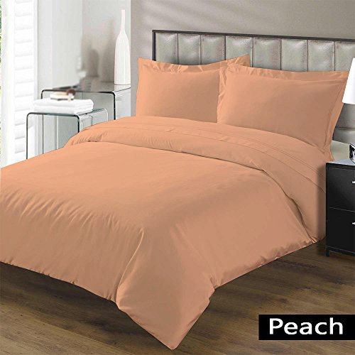 Hotel Collection Premium Duvet Cover with Zipper Closure 100% Egyptian Cotton Luxurious and Hypoallergenic 600 Thread Count Ultra Soft By Kotton Culture ( Twin/Twin-XL, Peach - Medallion Versace Gold